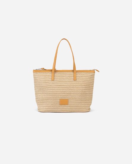 Raffia bag with handles