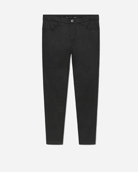 Waxed-effect jeans