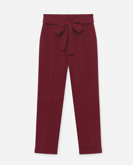 Trousers with tie waist