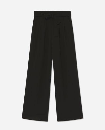 Wide-leg trousers with tie belt