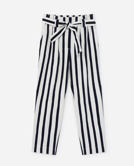Striped trousers with tie detail