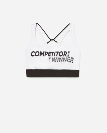 Placement print sports bra