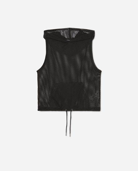 Hooded mesh vest top