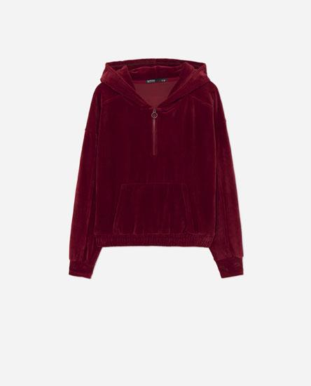 Sweatshirt em veludo