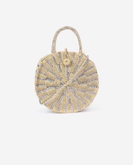 Raffia bag with shiny detail