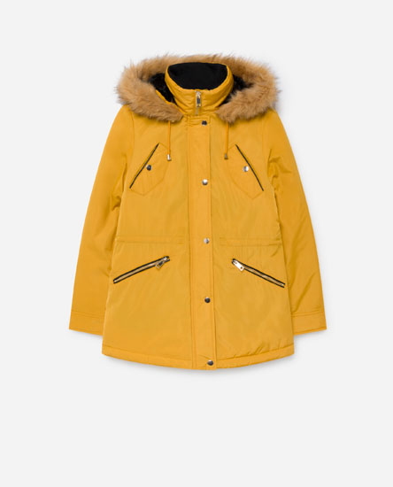 Quilted parka with pockets