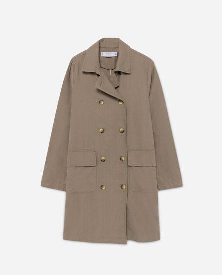 Linen-effect trench coat