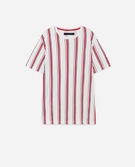 T-shirt with vertical stripes