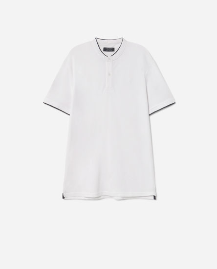 Contrast stand-up collar polo shirt