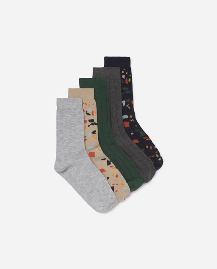 Pack of 5 printed socks