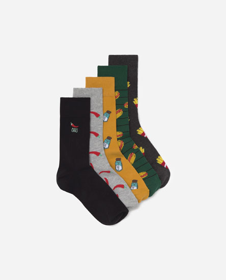 Pack of 5 food print socks