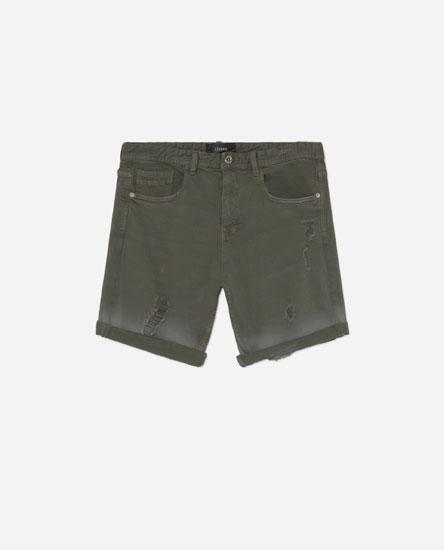 Acid wash Bermuda shorts