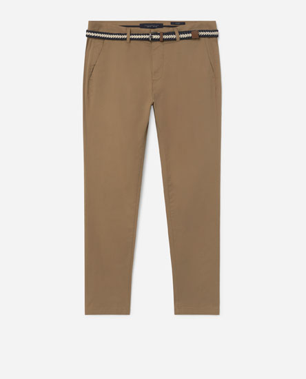 Belted chino trousers