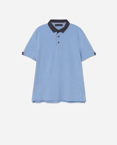 Polo shirt with printed collar