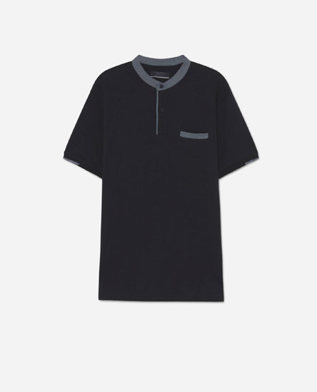 Polo shirt with contrast stand-up collar