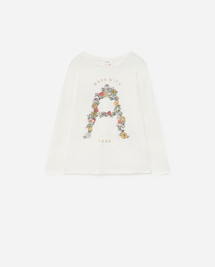 Floral T-shirt with glitter