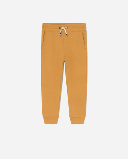 Plush trousers with drawstring