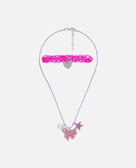 Paquet choker i collaret unicorn purpurina