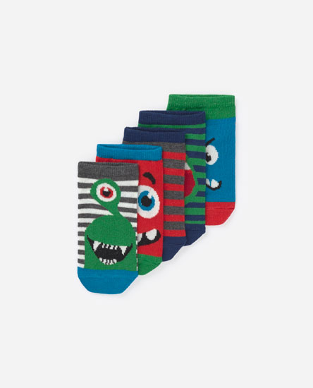 Pack of 5 monster socks