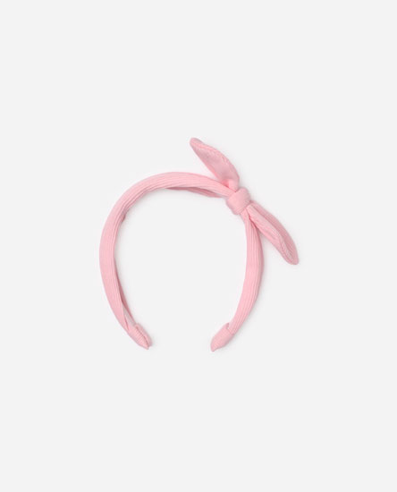 Ribbed headband with bow