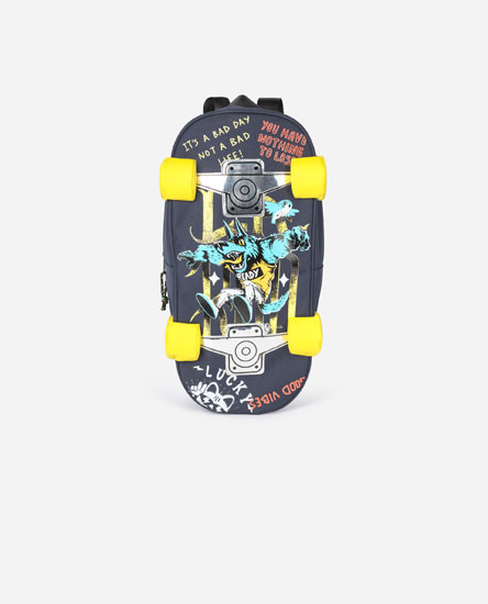 Skateboard-shaped backpack