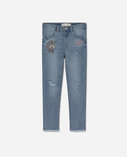 Jeans with unicorn sequins