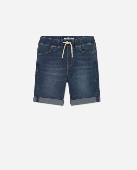 Denim Bermuda shorts with an elastic waistband