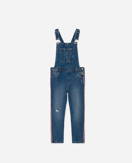 Long denim dungarees with coloured stripes