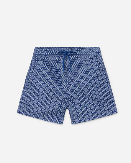 Geometric print swimming trunks