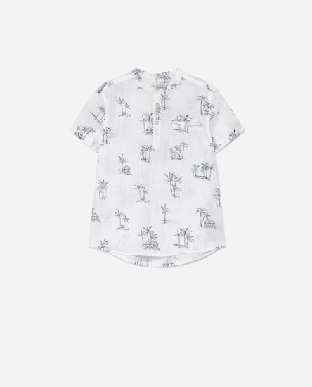 Printed linen-effect shirt