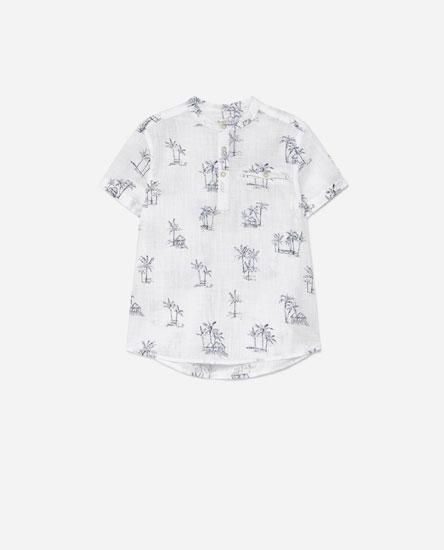 Camisa efecto liño estampada
