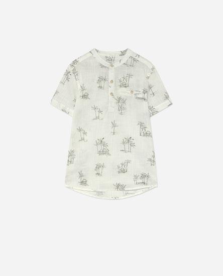 Linen-effect shirt