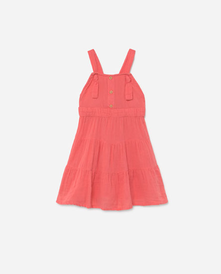 Pinafore dress with flounce detail