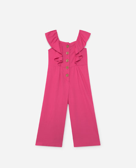 Jumpsuit with ruffled straps