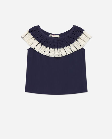 Top with crochet neck