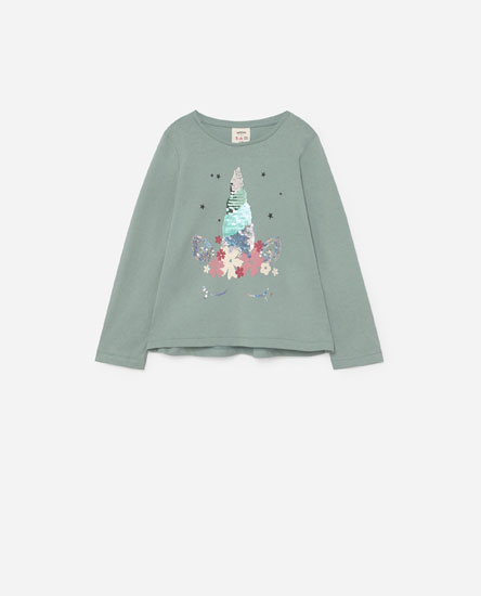 T-shirt with sequinned print