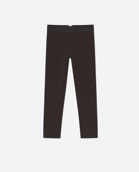 Leggings with glittery elastic waistband