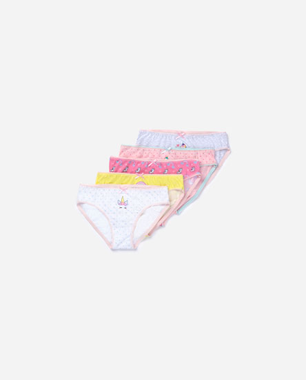 Pack of 5 unicorn print briefs