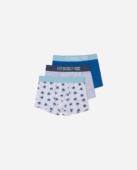 Pack of dog print boxers