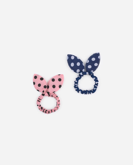 Pack of scrunchies with polka dots and ears