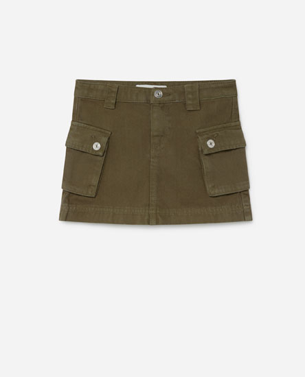 Denim cargo skirt