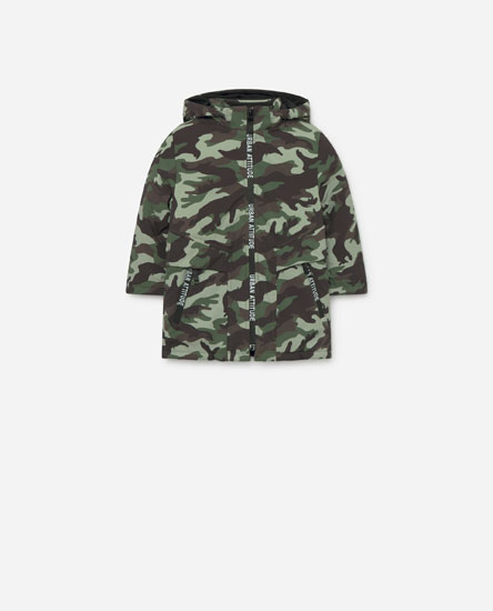 Hooded parka with lining