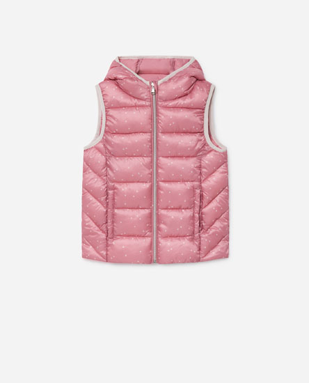 Printed quilted gilet with hood