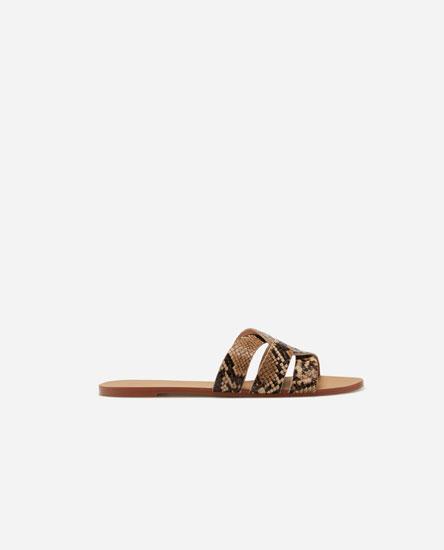 Animal print criss-cross sandals