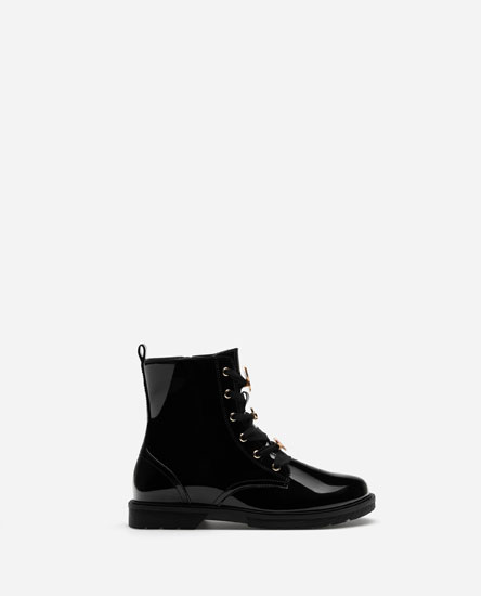 Faux patent boots