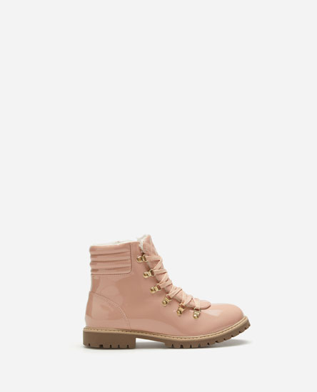 Faux patent finish mountain boots