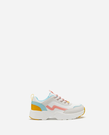 Multicoloured chunky sole sneakers
