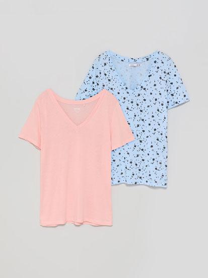Pack de 2 camisetas lisa y estampada con escote en pico