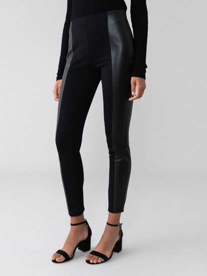 Contrast faux leather leggings