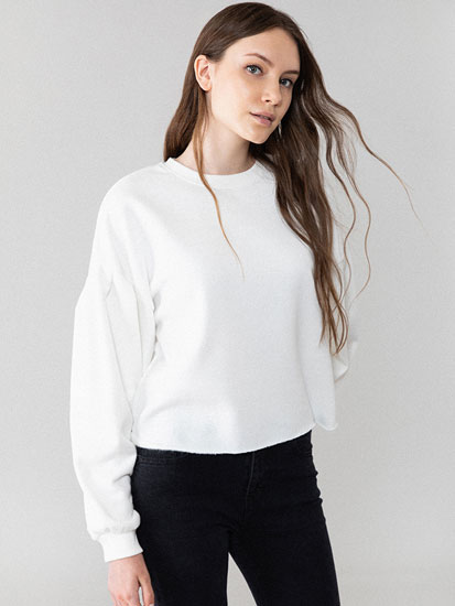 Cropped sweatshirt with puff sleeves